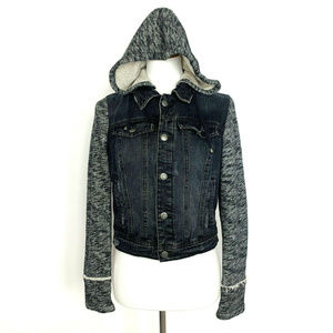 Free People Knit Hooded Denim Jacket S Distressed